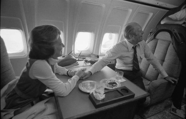 First Lady Betty Ford and President Gerald Ford inside Air Force One after Sara Jane Moore's assassination attempt. 9/22/1975