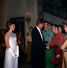 President John F. Kennedy and First Lady Jacqueline Kennedy visit with members of the American Ballet Theatre, 22 May 1962. (John F. Kennedy Presidential Library and Museum, National Archives)