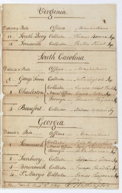 Nomination of Benjamin Fishbourn and others to be Port Collectors, etc., August 3, 1789. (Records of the U.S. Senate, National Archives)