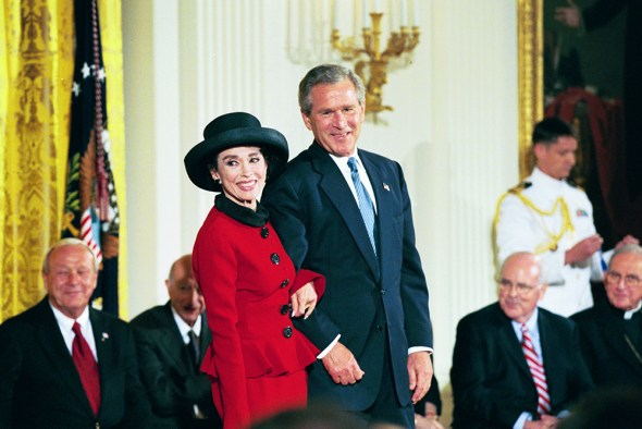 President George W. Bush with Medal of Freedom recipient Rita Moreno.  (National Archives Identifier: 7431430)