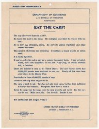 """Poster, """"Eat the Carp!"""" 1911. (National Archives Identifier 5710027)"""