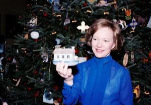 First Lady Rosalynn Carter holds an ornament designed by Tim Gunn. (Carter Presidential Library and Museum)
