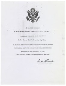 Letter from President Franklin D. Roosevelt to the Zamperini family thanking them for Louis Zamperini's service to his country, 5/28/1944. (National Civilian Personnel Records Center, National Archives)