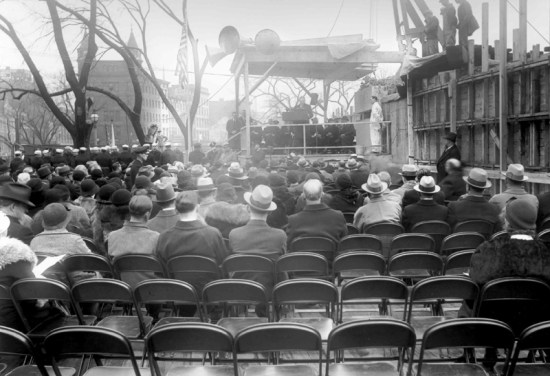 The cornerstone laying ceremony at the National Archives, February 20, 1933. (Records of the Public Building Service, National Archives)