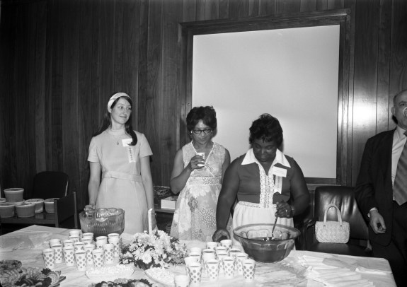 Retirees reception, June 30, 1972. Sara Jackson is in the middle. (64-JR-2, Records of the National Archives)