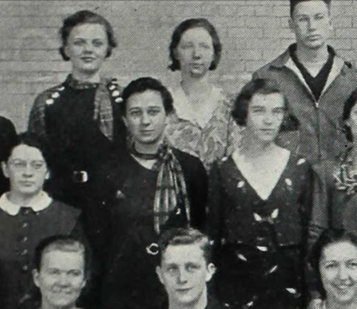Mabel Deutrich in Sophomore Class portrait, 1934 yearbook, from Ancestry.com