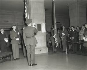 """Performance of """"Taps"""" at War Memorial Plaque Dedication,, January 29, 1947. (Records of the National Archives)"""
