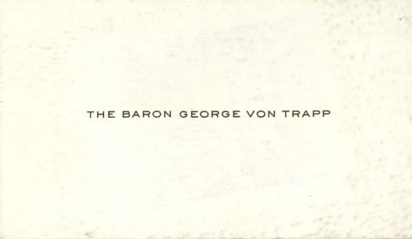 Baron von Trapp's calling card. (National Archives Identifier 6600095)