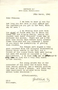 Gertrude Ely to Frances Perkins, March 12, 1940. (National Archives Identifier 6600095)
