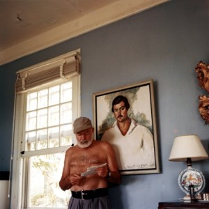 Ernest Hemingway standing in his home at the Finca Vigia in Cuba, 1953. (Ernest Hemingway Collection, JFK Library)