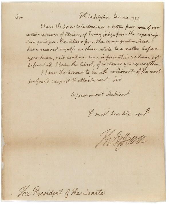 Thomas Jefferson's letter to the Senate transmitting O'Bryen's letter, January 20, 1791. (Records of the U.S. Senate, National Archives)