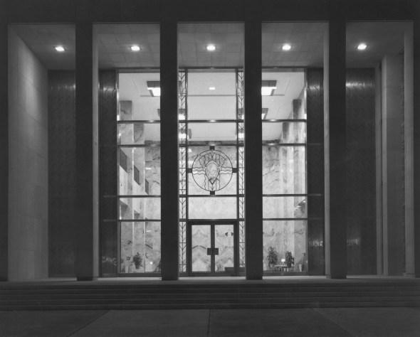 Photograph of Eisenhower Library Abilene, Kansas at night, ca. 1962. (National Archives Identifier 12170296)