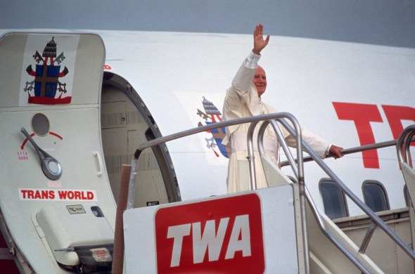 Pope John Paul II greets the waiting crowd at Kelly Air Force Base, September 10, 1987. (National Archives Identifier6427144)