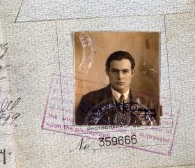 Ernest Hemingway 1923 Passport Photograph. (National Archives Identifier 192693)