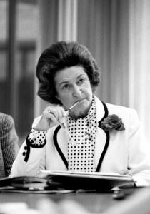 Lady Bird Johnson at a Lyndon B. Johnson Foundation Board Meeting, June 30, 1981. (LBJ Presidential Library, National Archives)