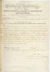 Joint Resolution Proposing an Amendment to the Constitution of the United States Preserving Slavery, March 2, 1861. (National Archives Identifier 4688370)