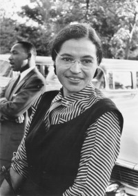Rosa Parks, 1995. (Records of the United States Information Agency, National Archives)