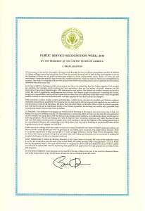 President Obama's Proclamation regarding Public Service Recognition Week, May 1, 2015.
