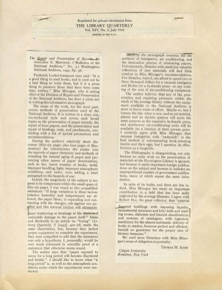Review of Bulletin, Library Quarterly, July 1944. (National Archives Identifier 7582964)