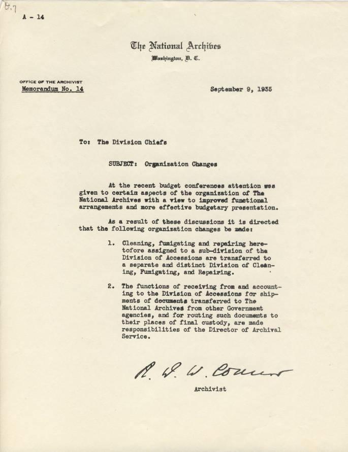 RG 64, A1 9 - Memo A-14 Organization Changes, Sept. 9, 1935