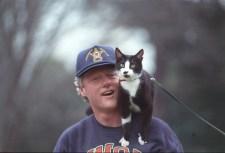 Socks the Cat on President William J. Clinton's Shoulder, 3/25/1993. (National Archives Identifier 2131121)