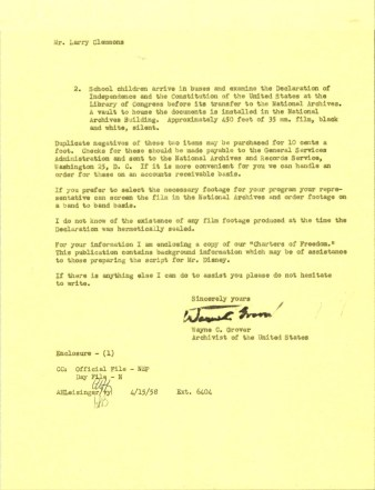Letter from Archivist Wayne C. Grover to Walt Disney Productions, April 15, 1958. (Records of the National Archives)