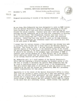 Memo from Jane Smith, Director of the Civil Archives Division, December 7, 1976. (Records of the National Archives)