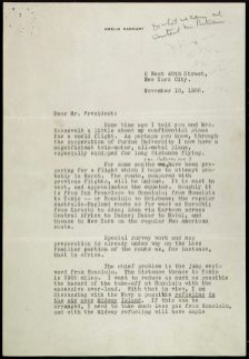 Letter from Amelia Earhart to President Roosevelt Page 1 of 3 1936 Franklin D. Roosevelt Library (Hyde Park, NY) Rediscovery #: 03579