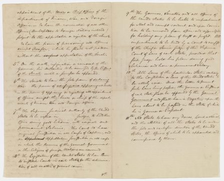 Alexander Hamilton's Plan of Government, 1787. (National Archives Identifier 44176956)