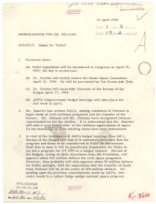Memorandum of Notes on the National Aeronautics and Space Administration for Dr. James Killian, 4/10/1958. (National Archives Identifier 12060417)