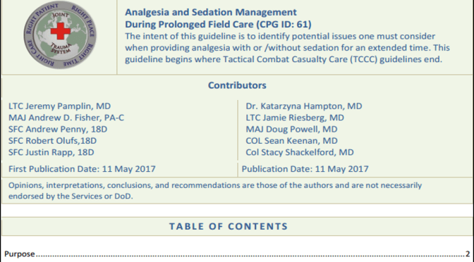 Analgesia and Sedation JTS/PFC Clinical Practice Guideline