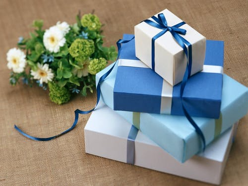 Beautiful blue wrapped gifts. Please read Independence Day 2020 Gift Ideas Guide.