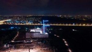 Контурная подсветка башенных кранов г. Балашиха для ПИК
