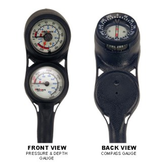 Mini Pressure and Depth Gauge with Compass Console