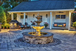 Stone Patio with Fountain