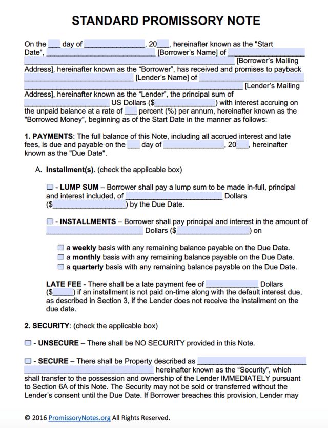 Free Promissory Note Template - Adobe PDF & Microsoft Word