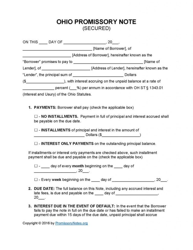 Ohio Secured Promissory Note Template - Promissory Notes