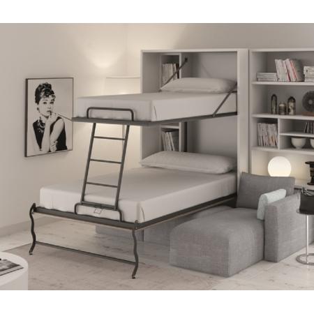 meuble lits superposes escamotables verticaux gain de place avec couchages jusqu a 3 personnes