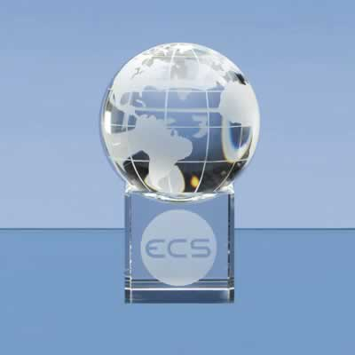 The globe and base are hand crafted out of perfectly clear optical crystal.