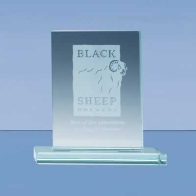 The stylish rectangle award is crafted from 12mm thick jade glass and mounted on a rectangular base.