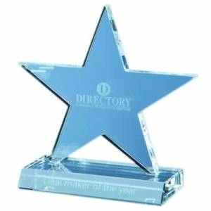 13cm Optical Crystal 5 Pointed Star on Base Award