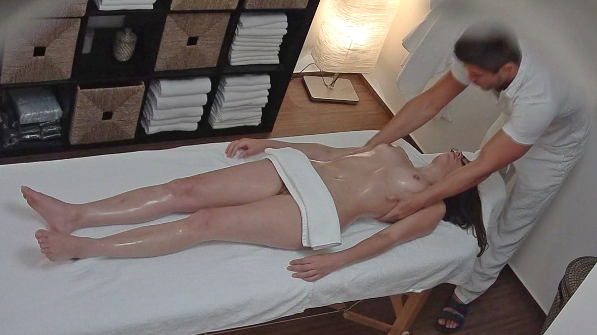 Czech Massage: Young Brunette with Glasses Seduced on Massage Table
