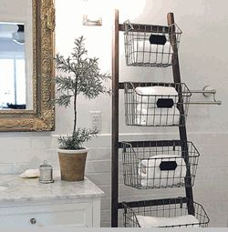 Wood Ladder w/ 5 Wire Baskets
