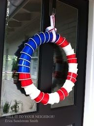 Red Solo Cup American flag wreath… Perfect for a lakeside Fourth of July !