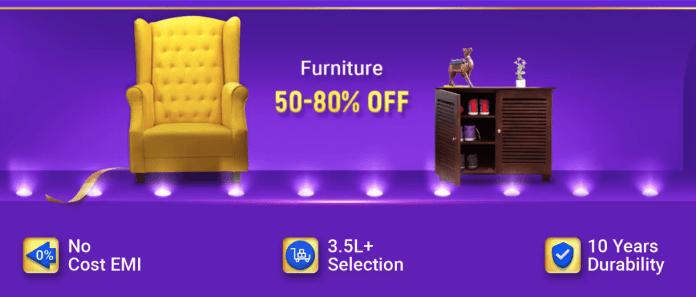 Flipkart BBD offers on Furniture