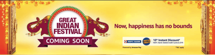 Amazon Great Indian Festival Sale Offers [Date Revealed] : Upto 90% Off + 10% HDFC Bank Offer