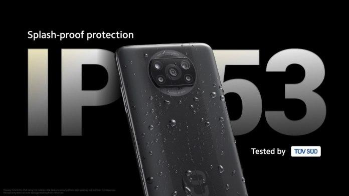 Poco X3 splash-proof