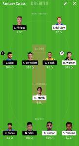 RCB Vs SRH Dream11 Team Suggestion