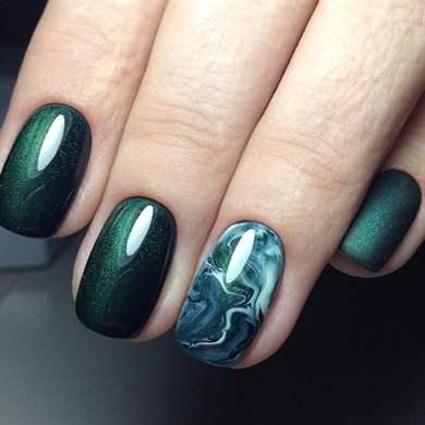Зеленый дизайн ногтей - маникюр для энергичных личностей