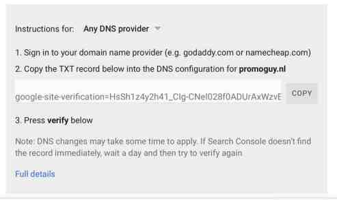 Google Search Console DNS